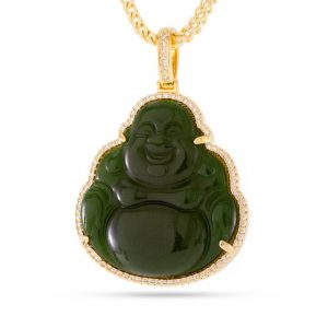 King Ice Gold Buddha Gemstone Necklace