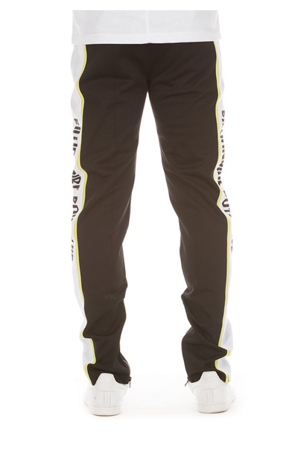 billionaire boys club vertical track pants black neon