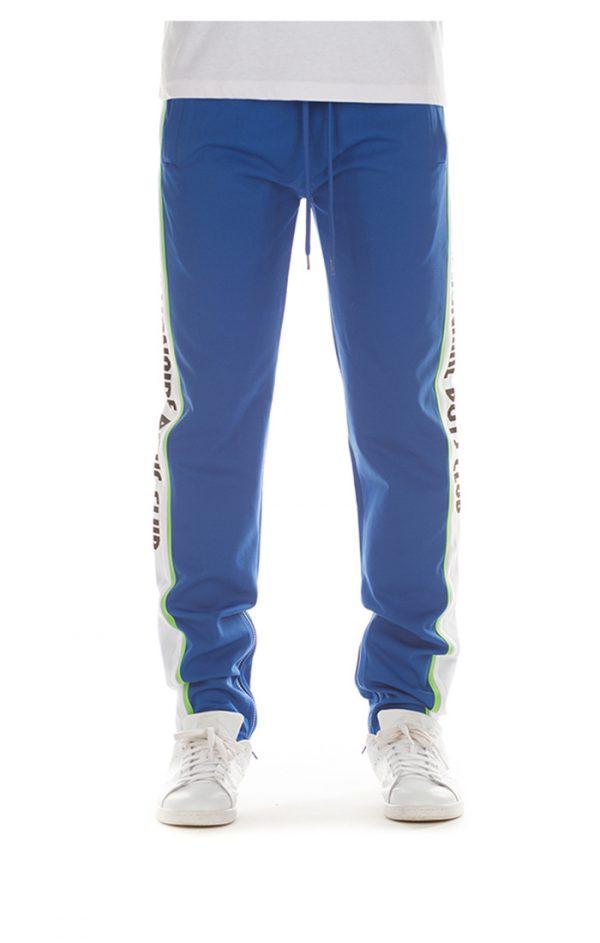 billionaire boys club vertical track pants blue front