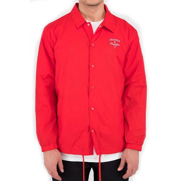 crooks and castles everything coach jacket red