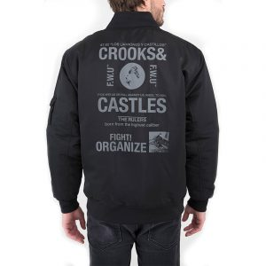 crooks and castles headlines bomber jacket black back