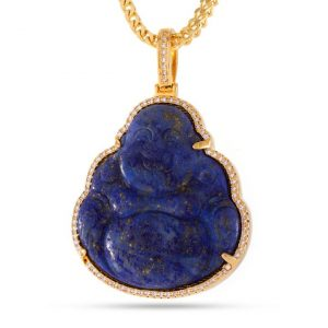 king ice buddha necklace blue lapis