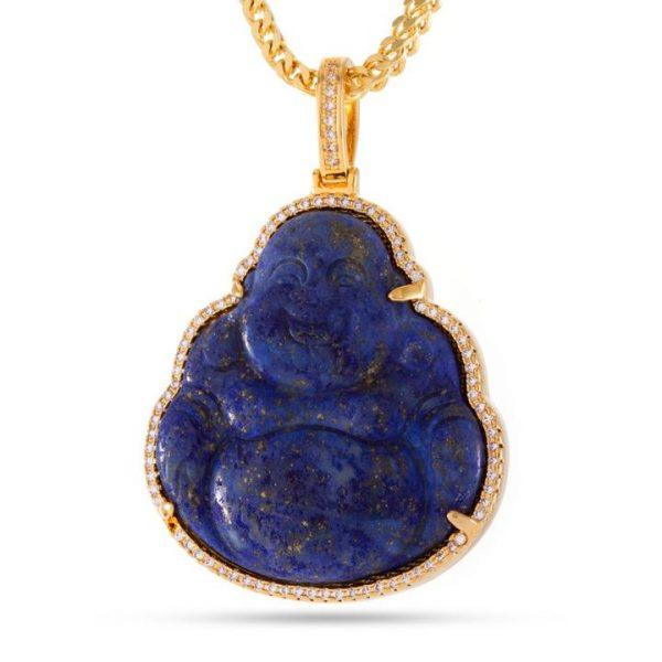king ice buddha necklace blue lapis