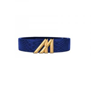 mint anaconda belt navy with Gold buckle
