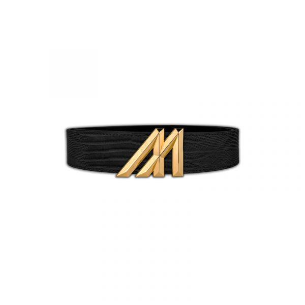 mint black lizard belt with gold buckle