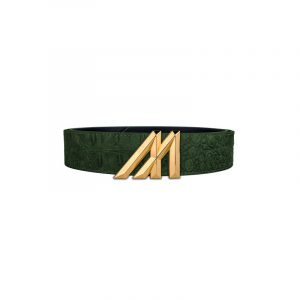 mint crocodile belt olive with gold buckle