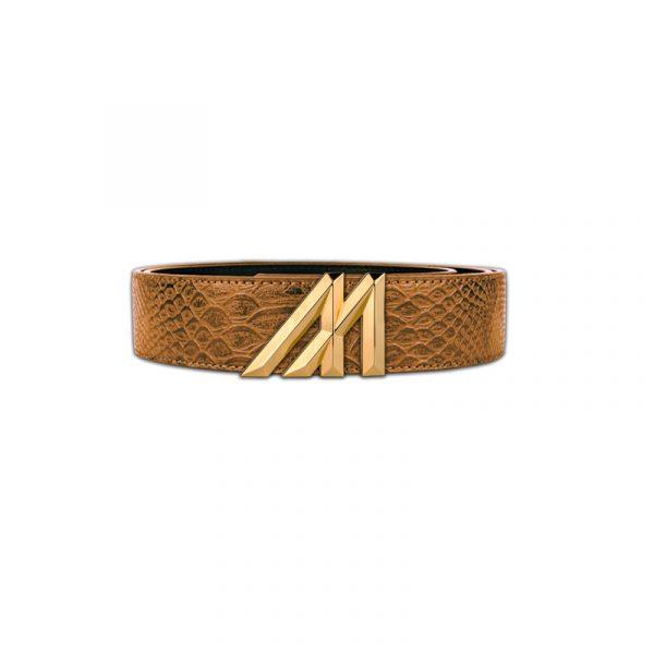 mint tan anaconda belt with gold buckle