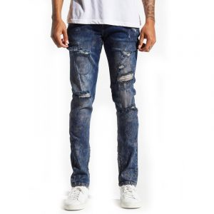 Crysp denim pacific dark blue distressed
