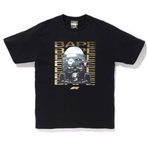 Bape X F1 Ape Head Photo Tee Black