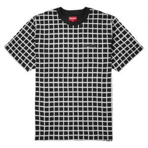 Supreme Grid Jacquard SS Top Black