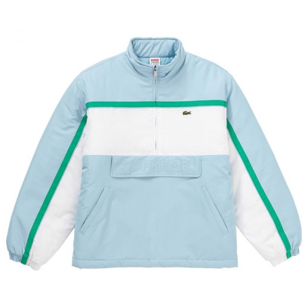 Supreme x Lacoste Puffy Half Zip Pullover Light Blue