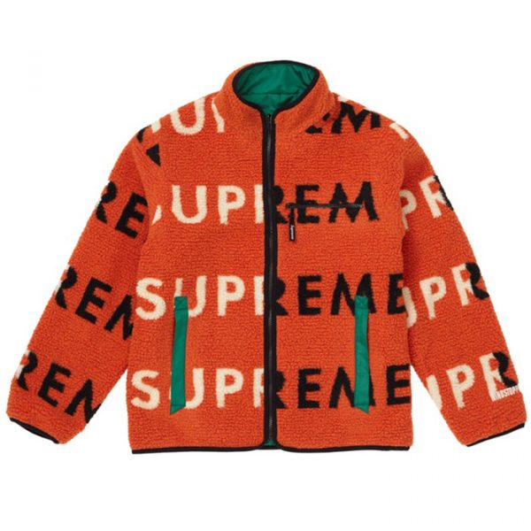 Supreme Reversible Logo Fleece Jacket Orange