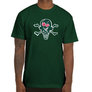 Ice Cream Cone And Bones Tee dark green